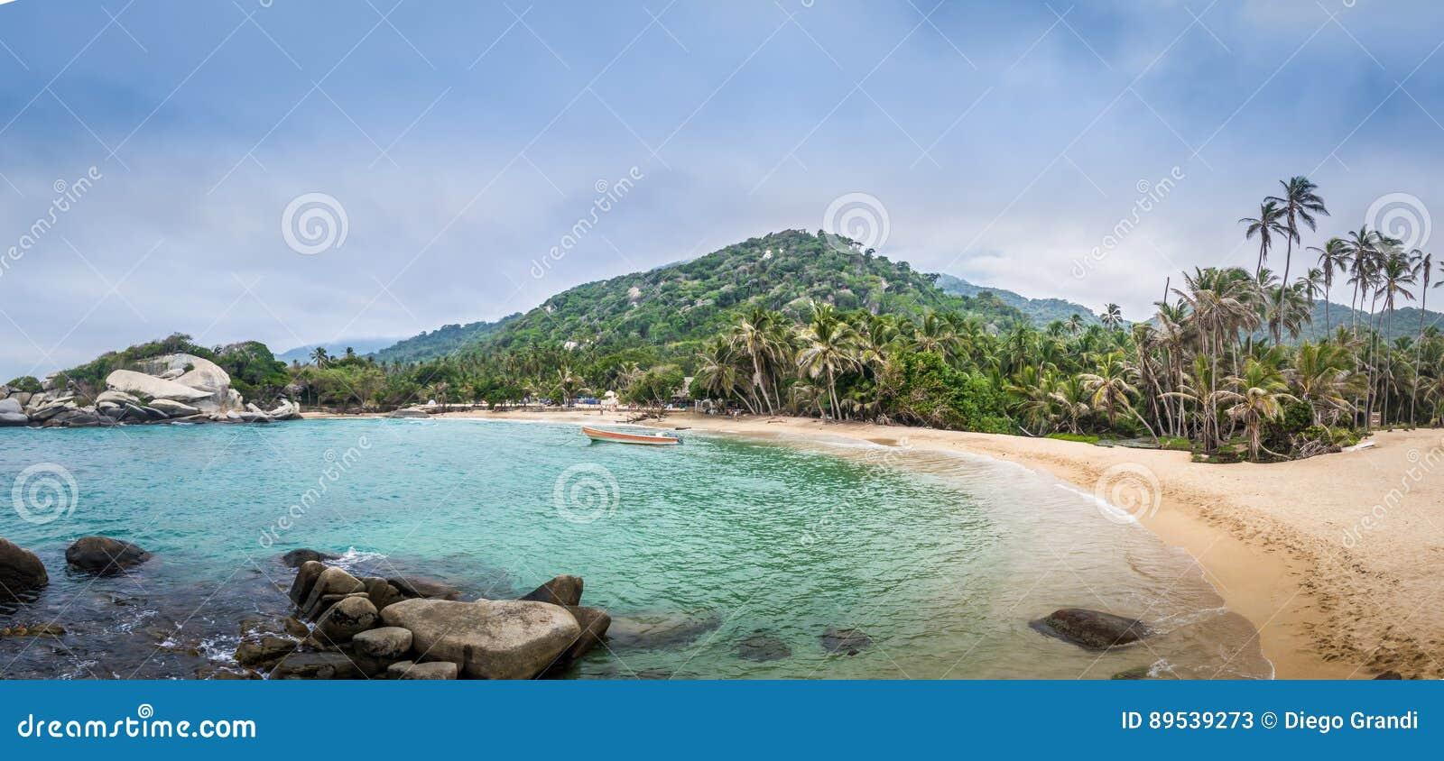 Panoramiczny widok plaża przy Cabo San Juan, Tayrona Naturalnym parkiem narodowym -, Kolumbia