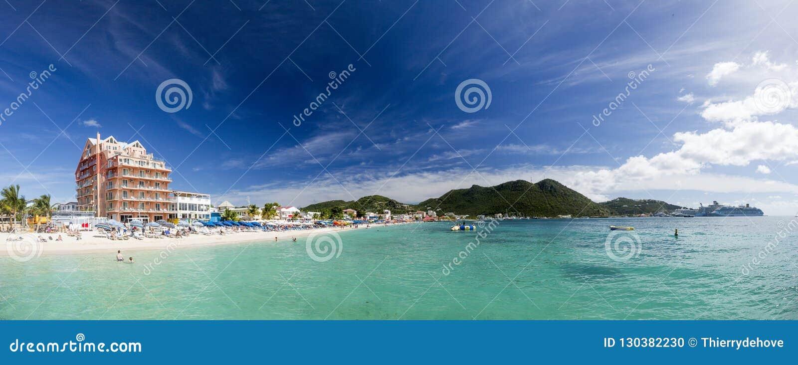 Panoramique de Saint Martin, Sint Maarten : Plages des Caraïbes