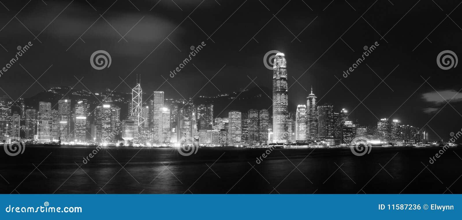 Panoramique excessif du port de Victoria au HK