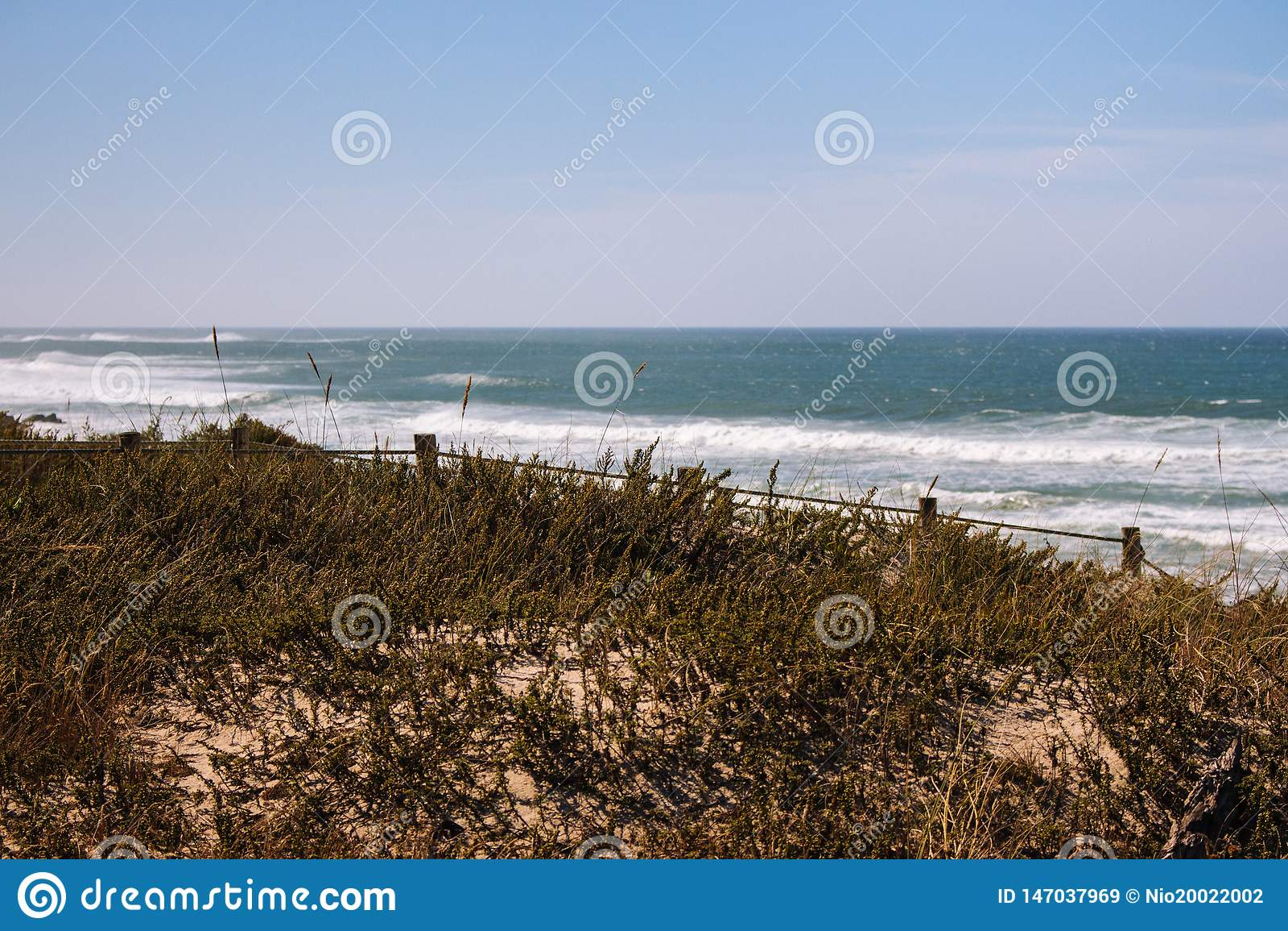 Panoramisch landschap van de kust Breed strand van de Atlantische Oceaan met golven en graskust met omheining