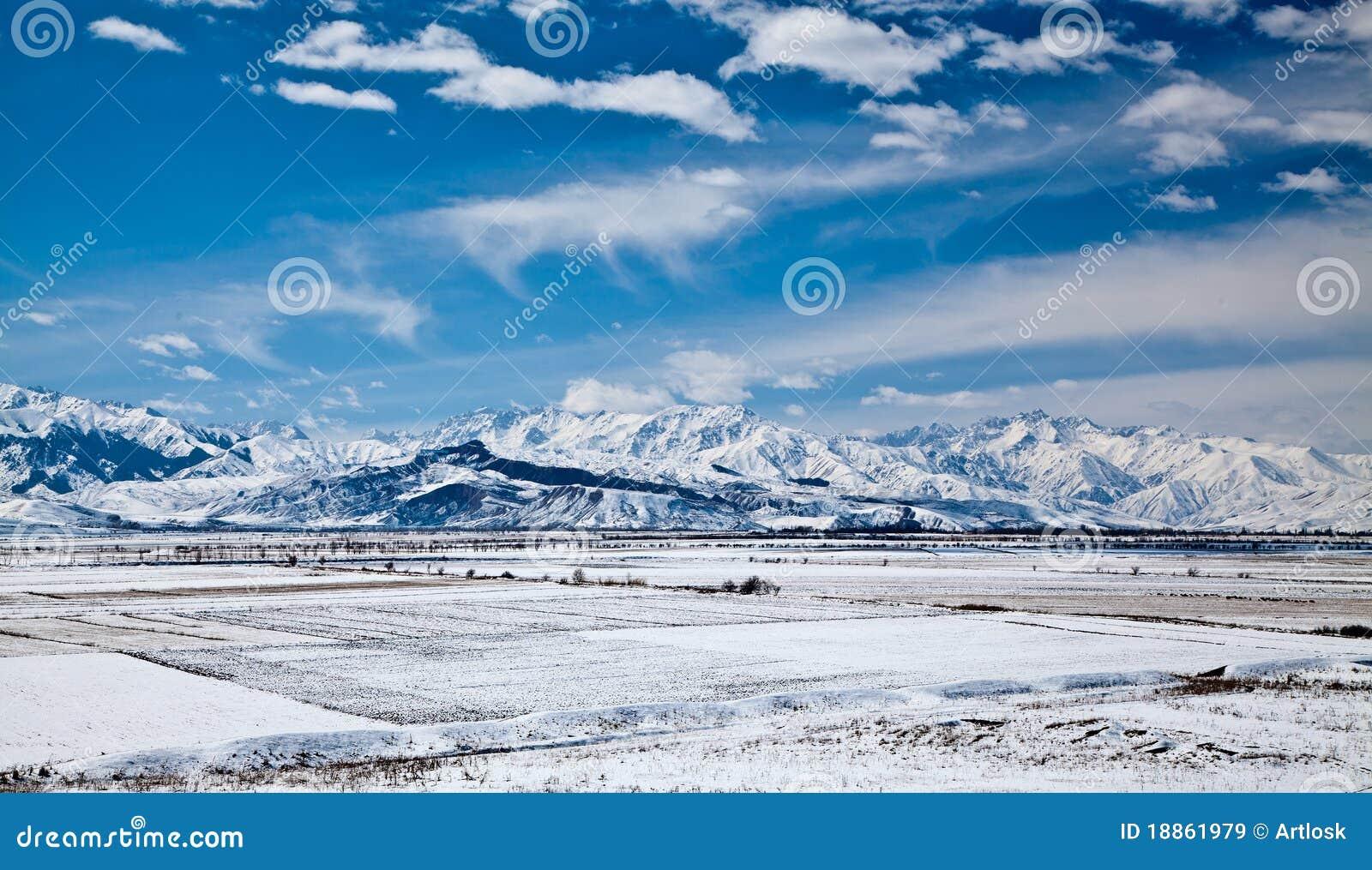 Panoramisch landschap van sneeuwbergen