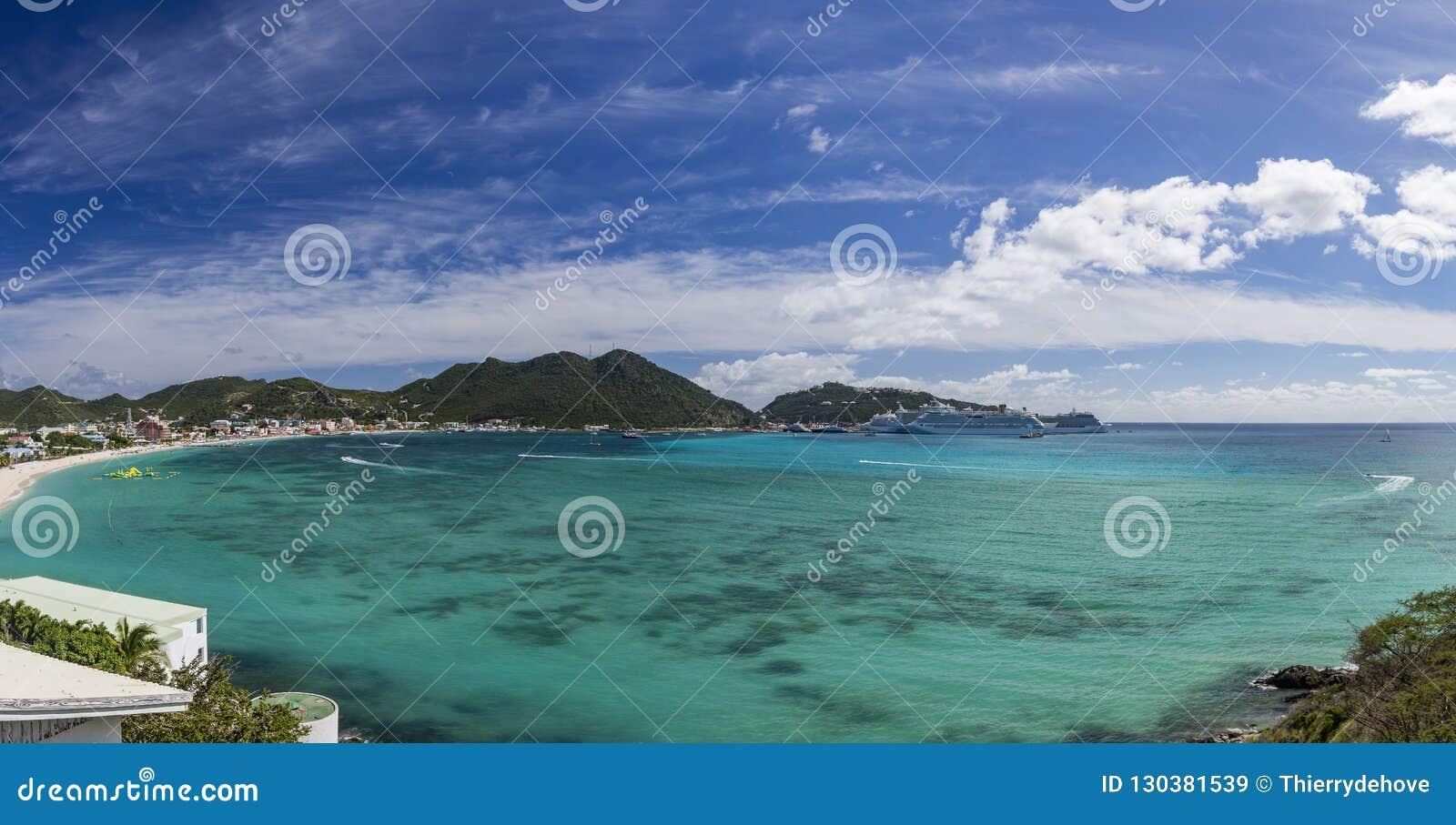 Panoramisch van Saint Martin, Sint Maarten: Caraïbische Stranden