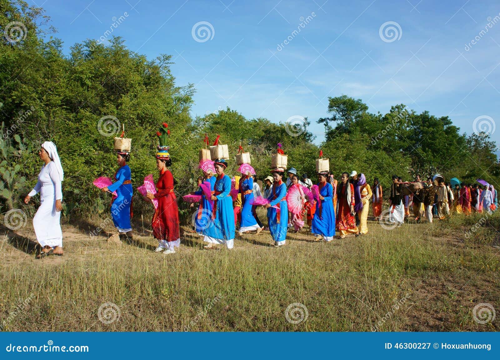 Panoramisch verbazen, Kate-festival, de traditionele cultuur van Cham