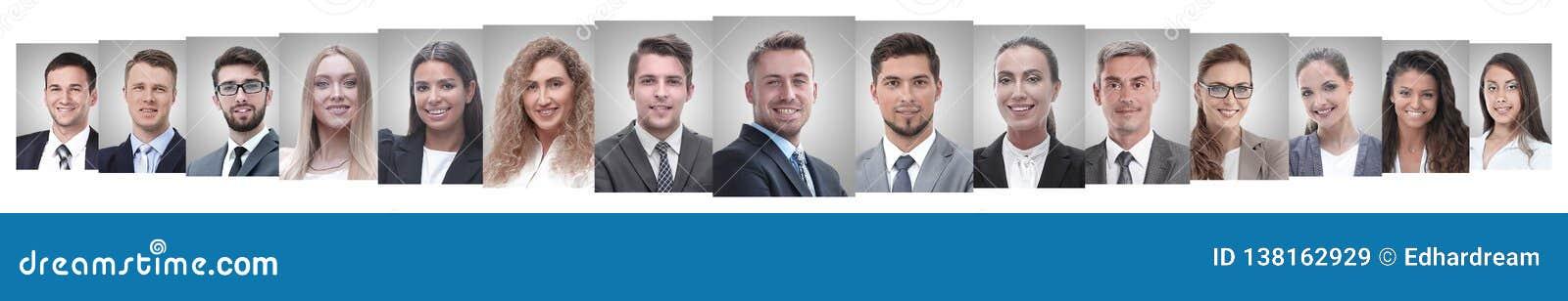 Panoramische collage van portretten van succesvolle werknemers