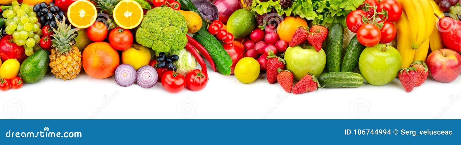 Panoramische inzamelings verse vruchten en groenten voor skinali ISO