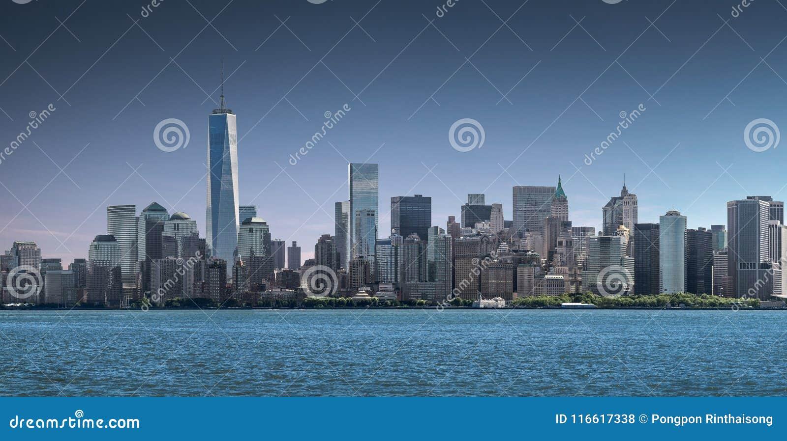 Panoramy lower manhattan, linia horyzontu i miastowy tło, Miasto Nowy Jork
