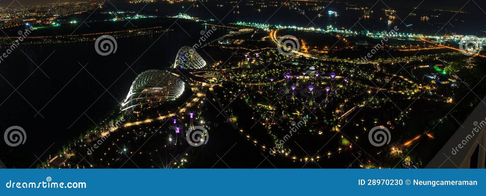 Panoramy nocy widok Singapur.