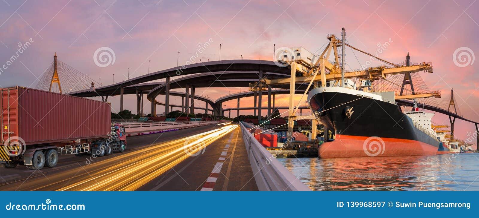 Panoramy przewieziony i logistycznie pojęcie ciężarowym łódź samolotem dla logistycznie importa eksporta tła
