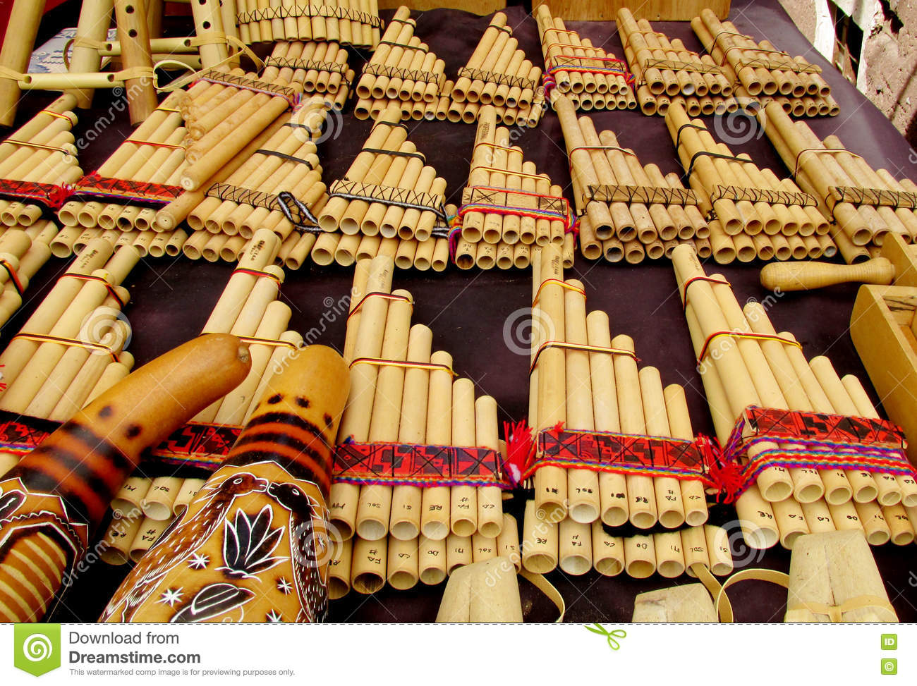 Panpipes Traditional Instruments For South American Music