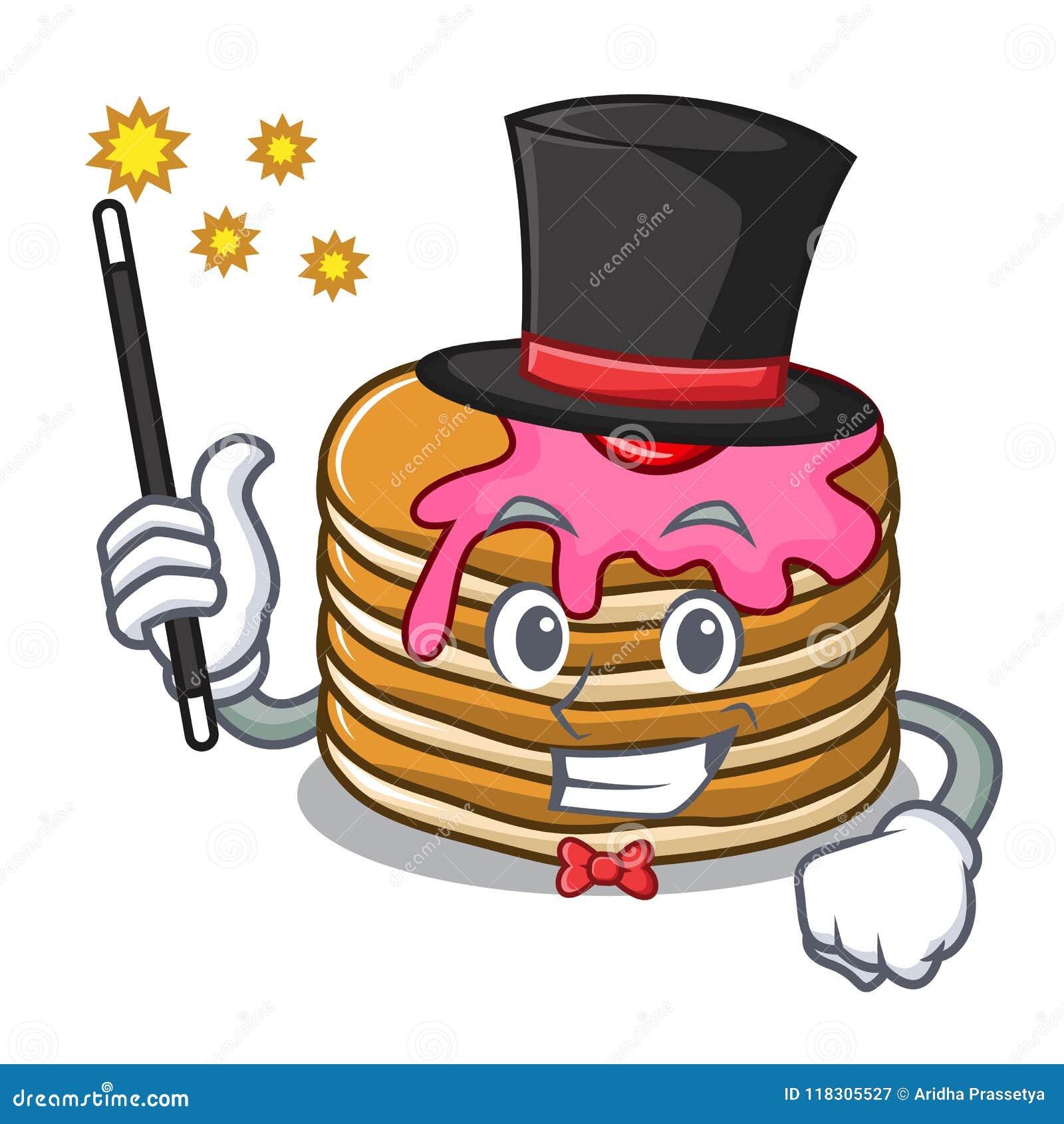 Panqueca do mágico com desenhos animados da mascote da morango