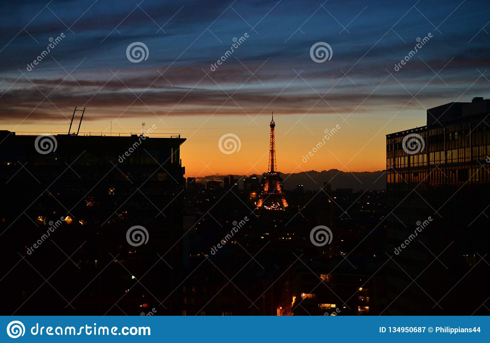 DUSK NIGHT Panorama city view of Paris, Eiffel tower, taken from tradition french style room, statue