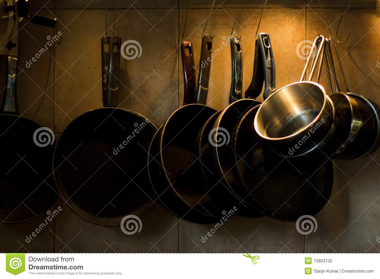 Pans Hanging On Kitchen Wall Stock Photo Image 12803132