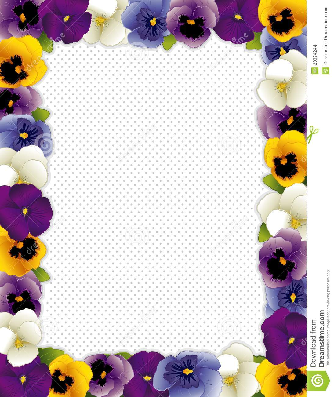 frame, polka dot background. Violas in lavender, purple, blue and gold ...