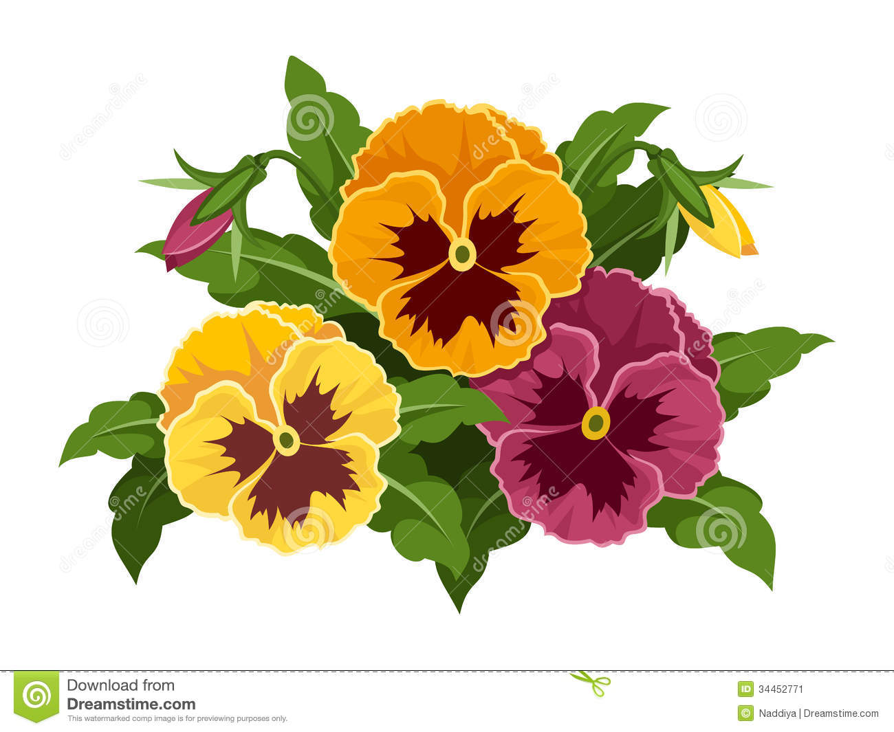 Horizontal Seamless Background With Pansy Flowers Stock Vector