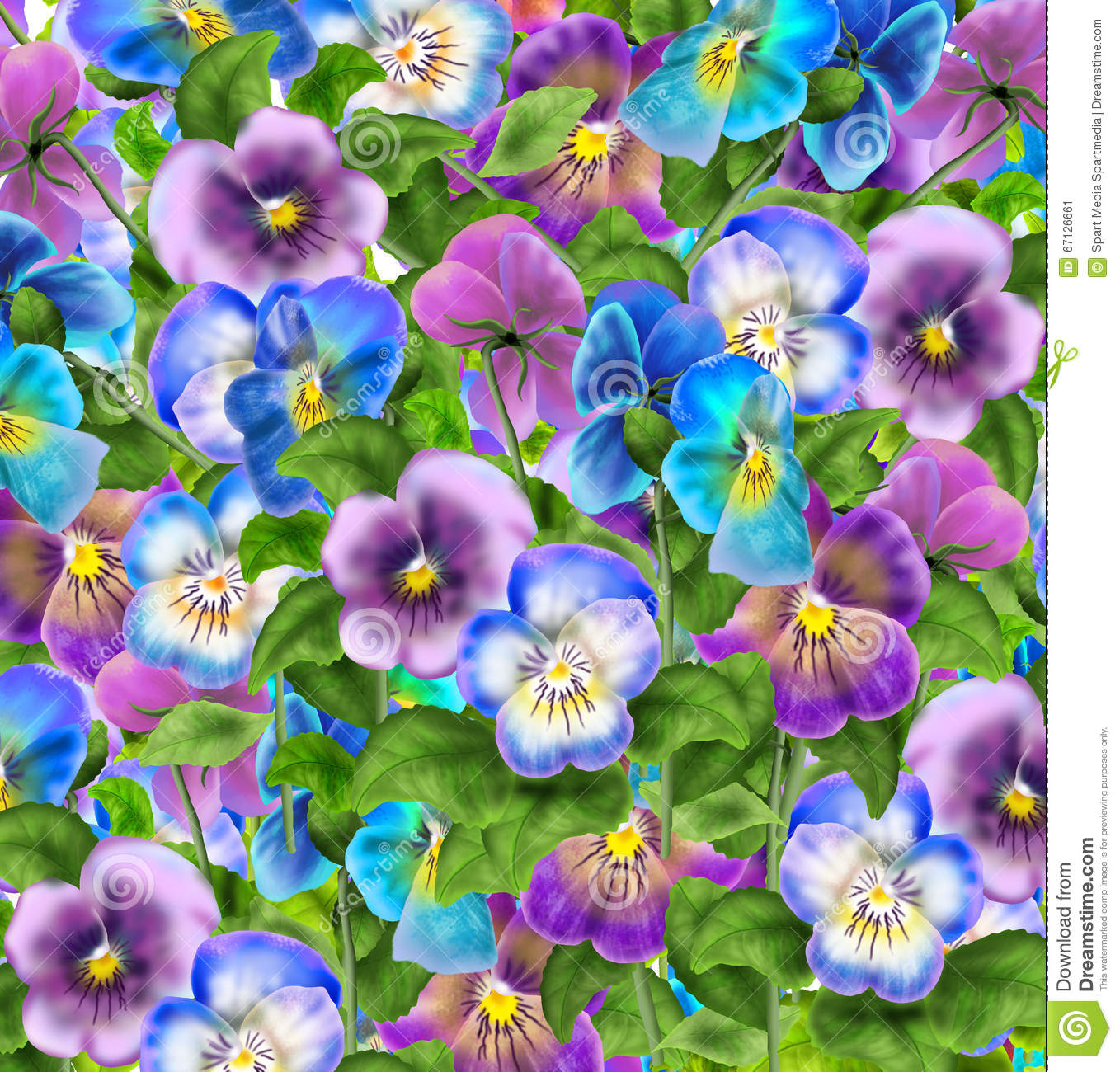 Download Pansy flowers pattern 2019 stock illustration. Illustration of fabric - 67126661