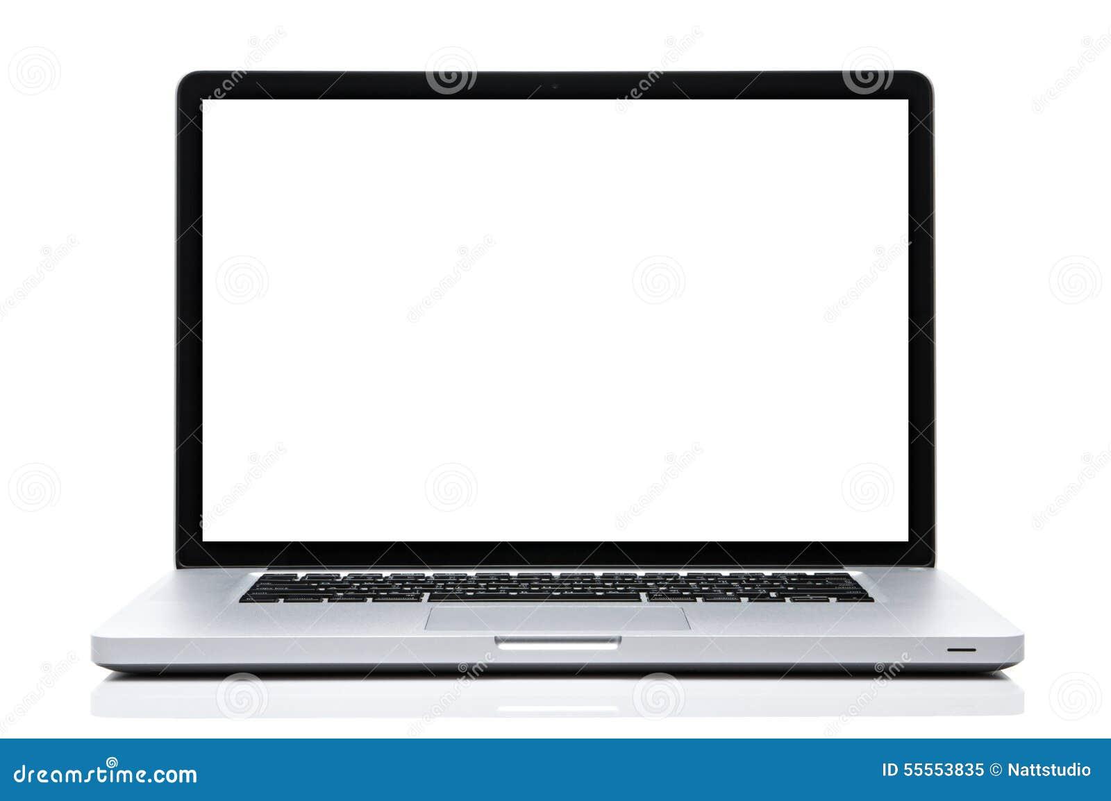 Pantalla blanca del ordenador portátil en blanco aislado