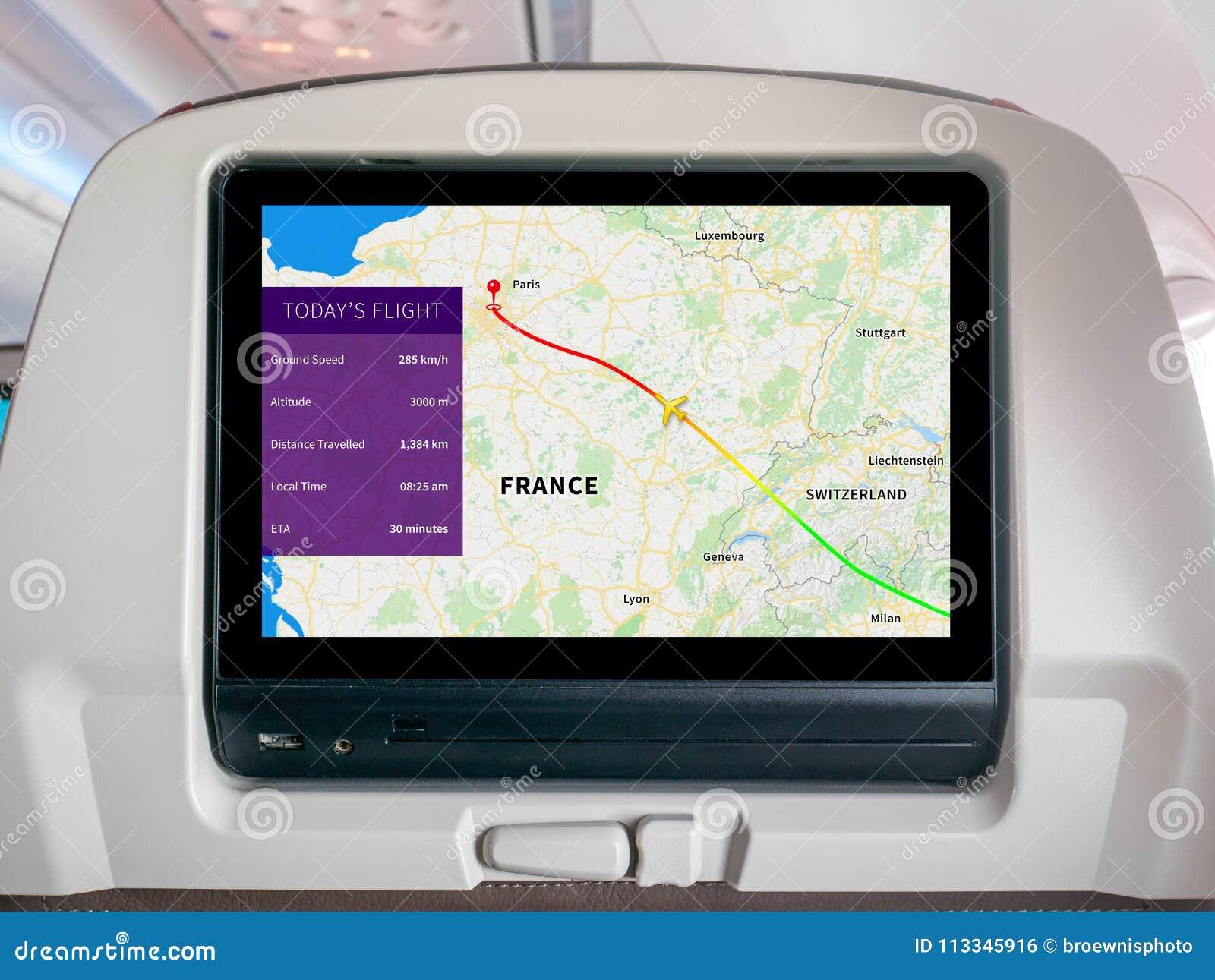 Pantalla de aviones del mapa del progreso, pantalla de aviones del mapa, pantalla del vuelo, perseguidor del vuelo