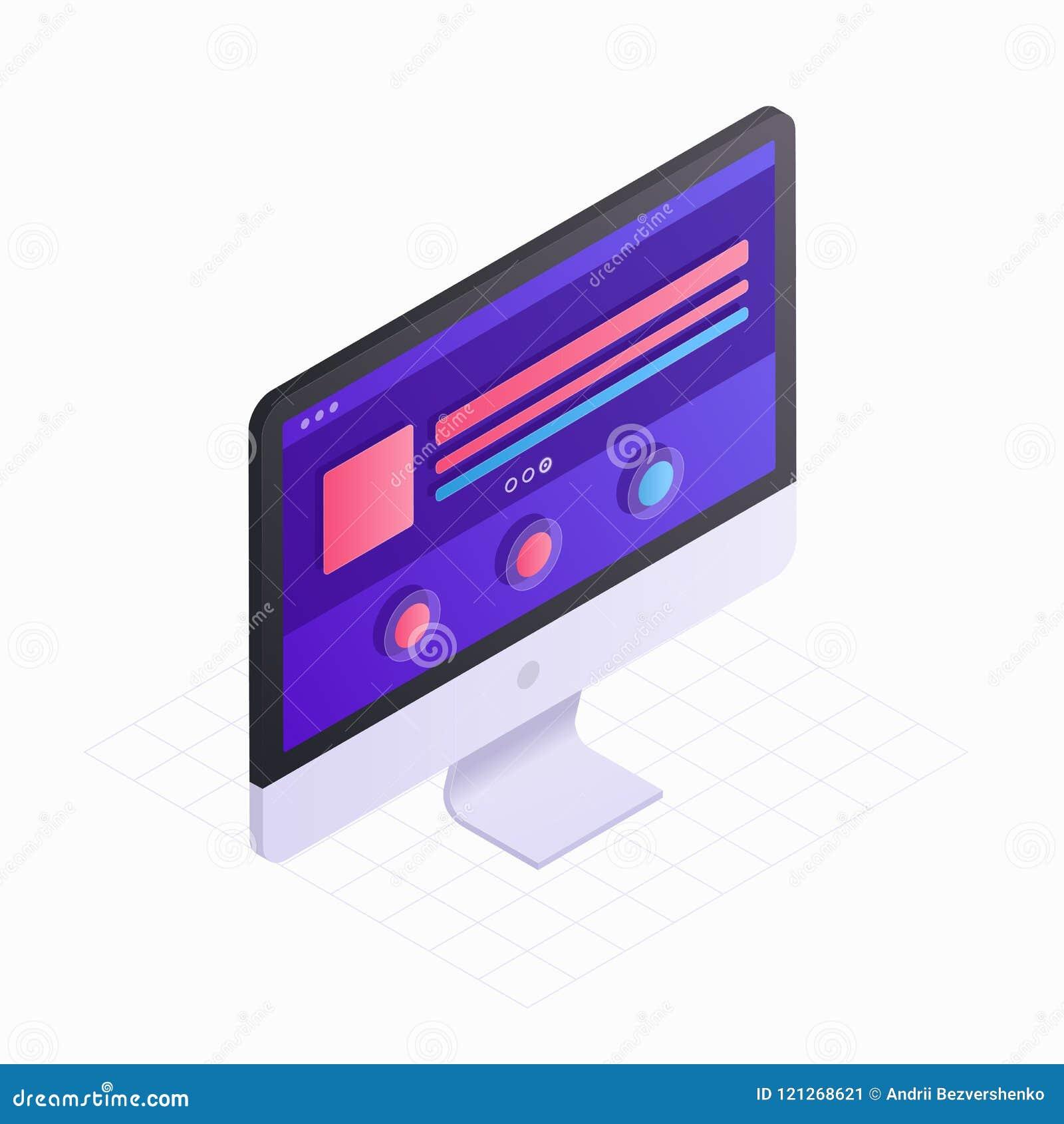 Pantalla de ordenador isométrica 3D en el ejemplo plano del vector del diseño Icono del monitor LCD aislado en el fondo blanco Co