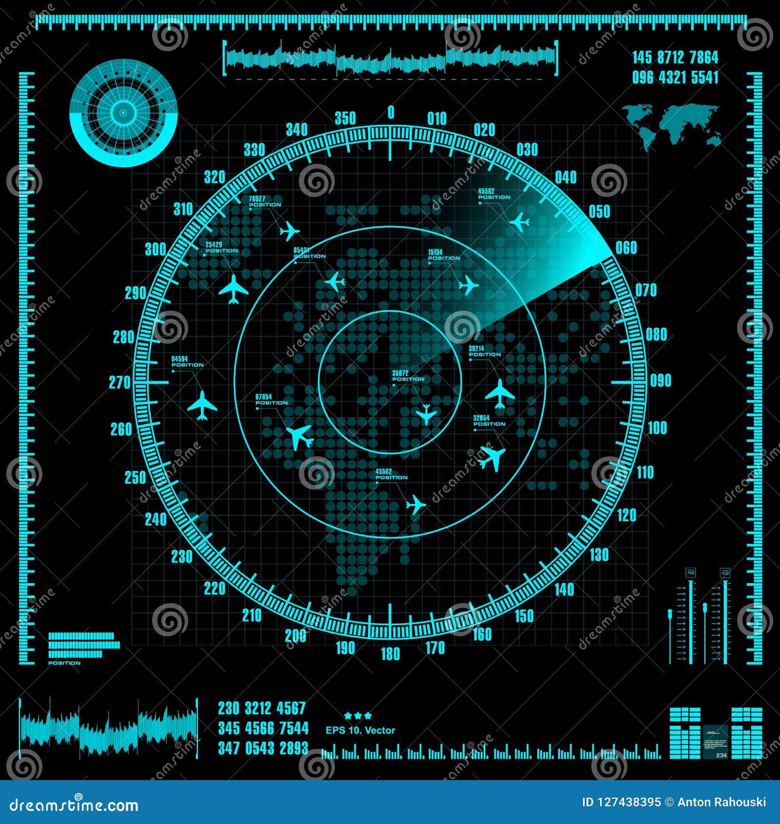 Pantalla De Radar Azul Con Los Aviones Y El Mapa Del Mundo Vector