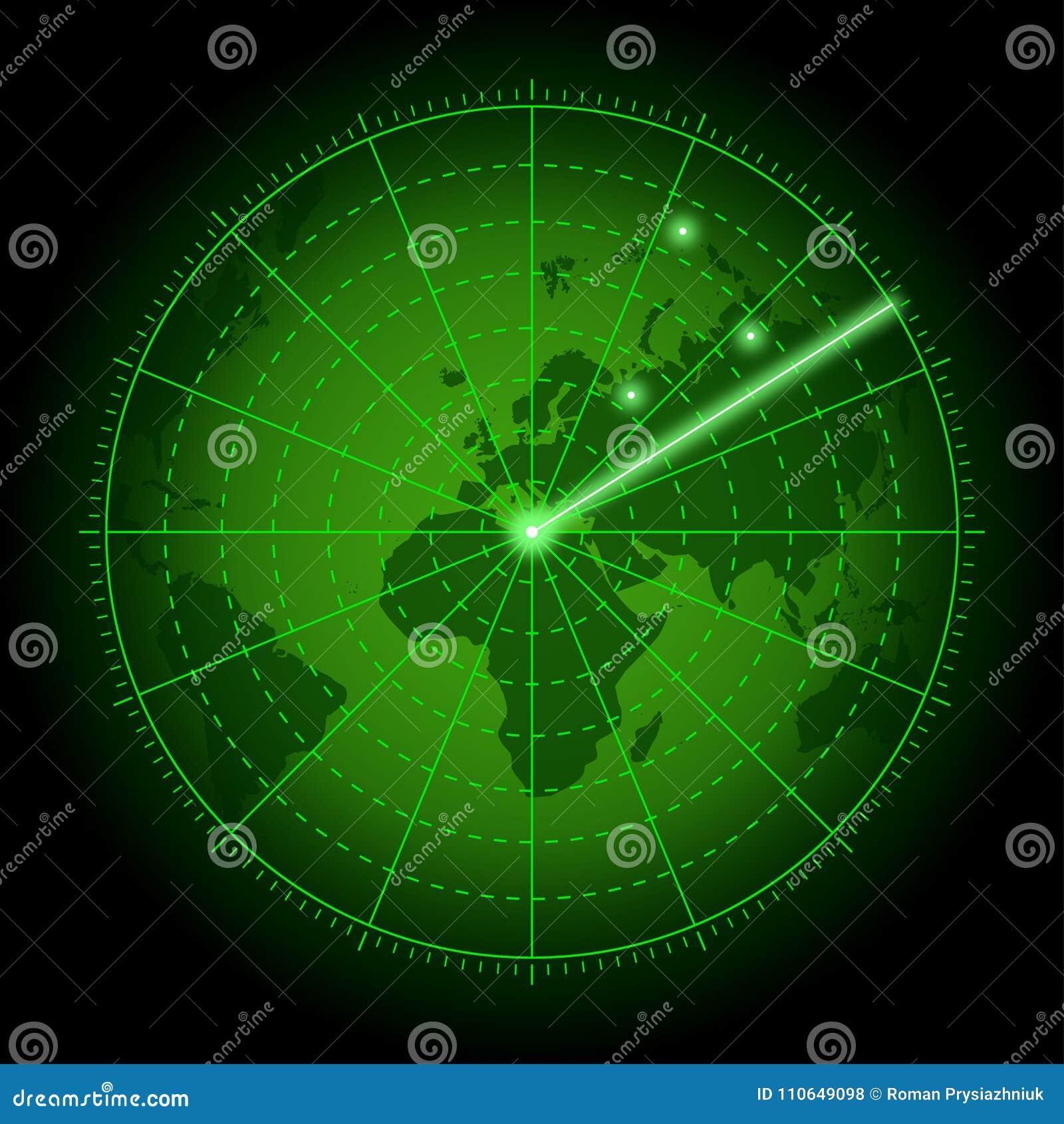Pantalla De Radar Verde Con El Mapa Del Mundo Fondo Del Sistema De