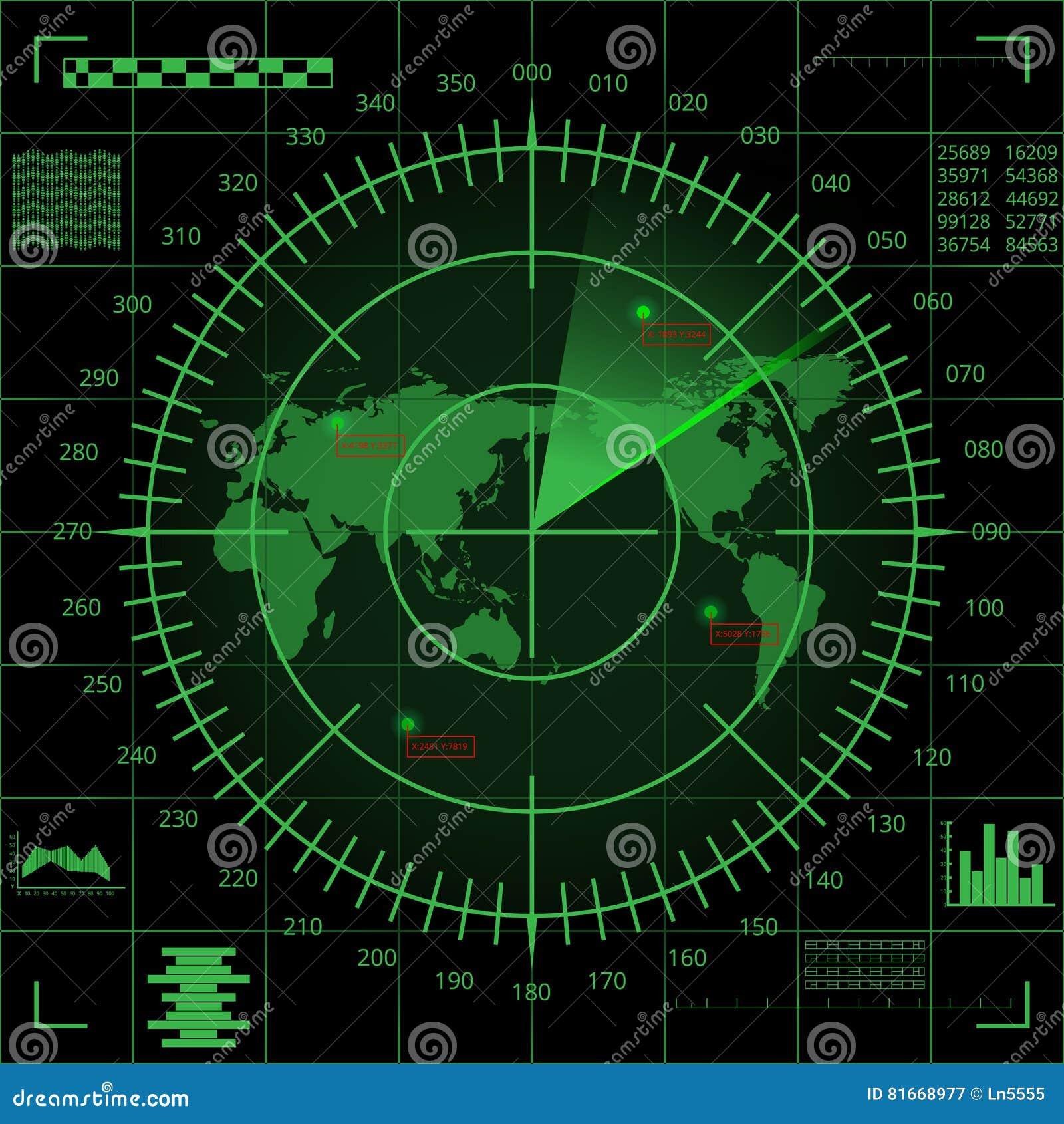Pantalla De Radar Verde De Digitaces Con El Mapa Del Mundo Las