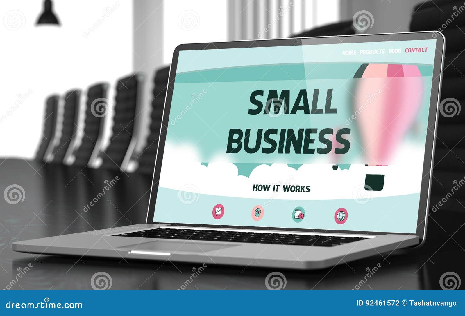 Pantalla del ordenador portátil con concepto de la pequeña empresa 3d