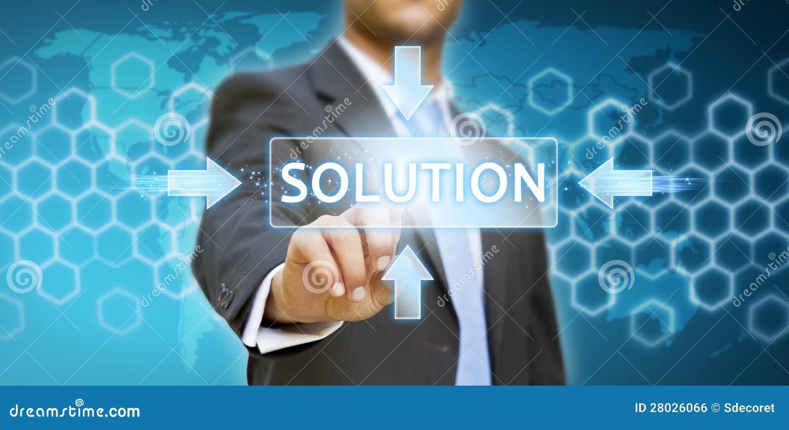 Pantalla digital conmovedora del hombre de negocios