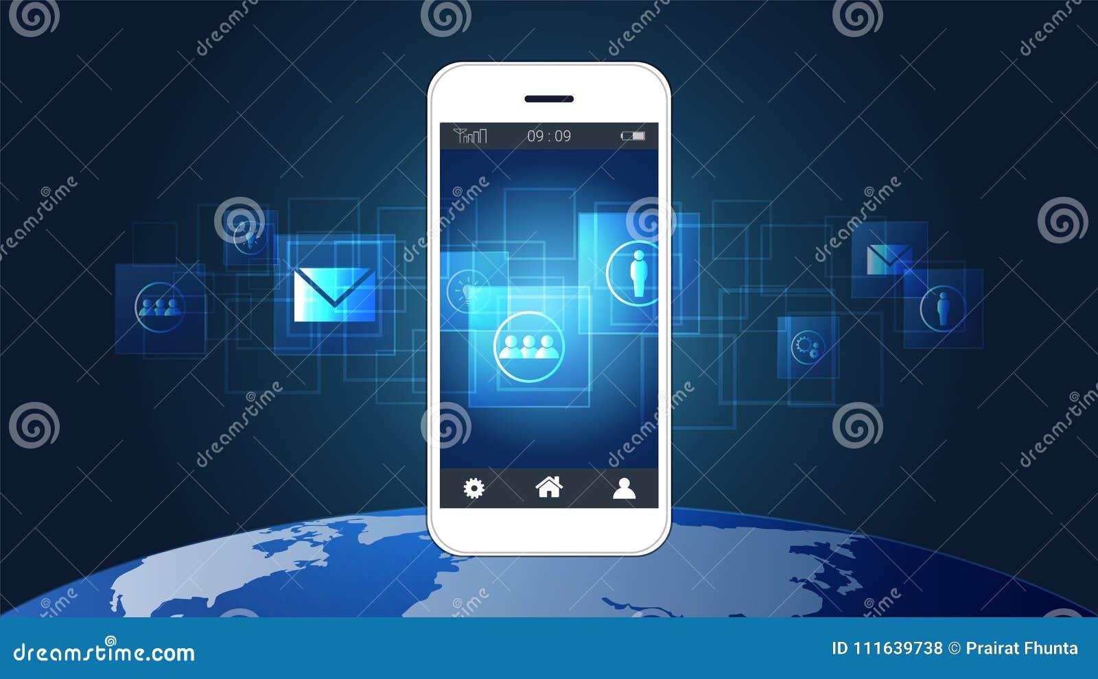 Circuito Y : Pantalla elegante del teléfono que muestra placas de circuito y el