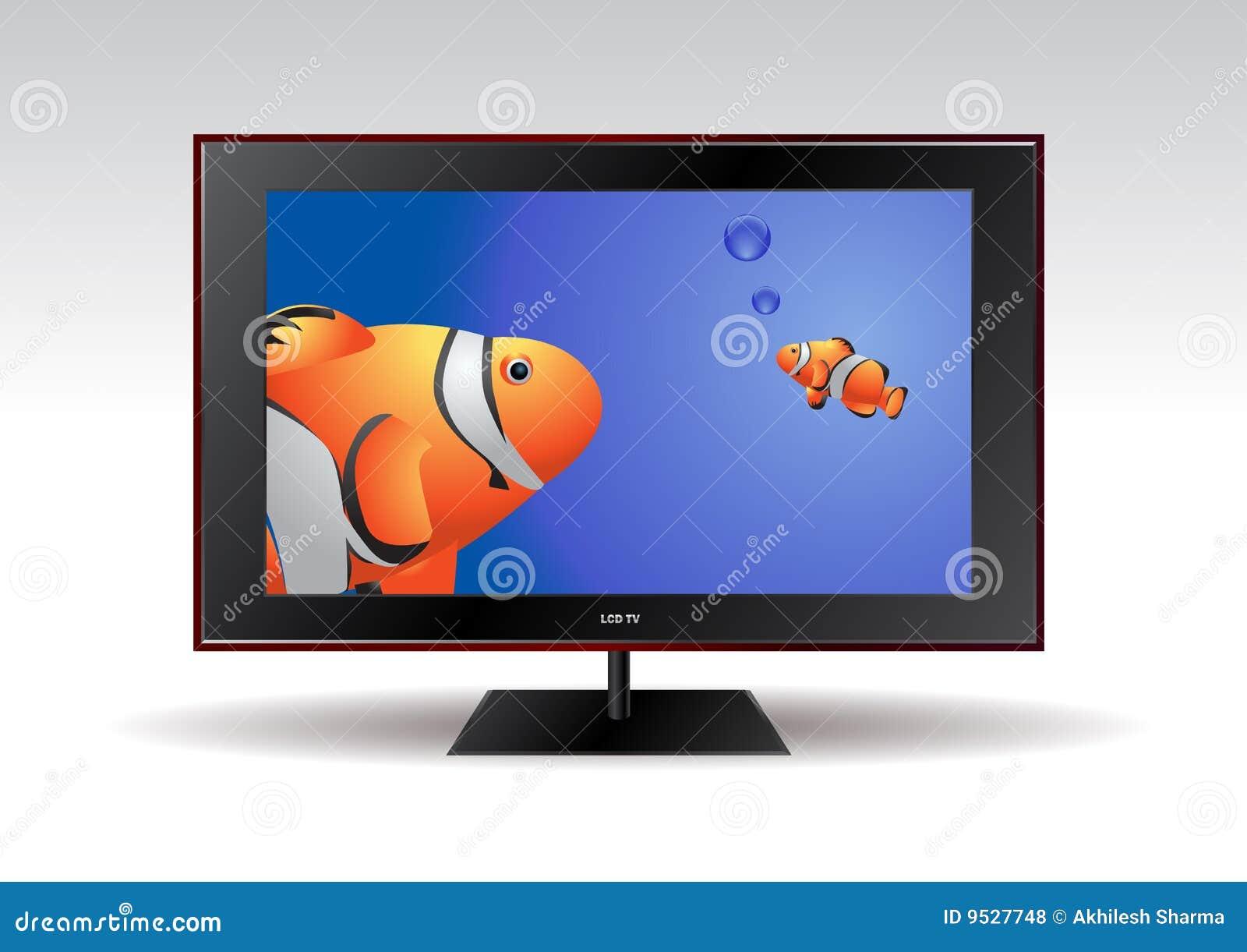 Pantalla plana tv con los pescados visualizados en la - Television pequena plana ...