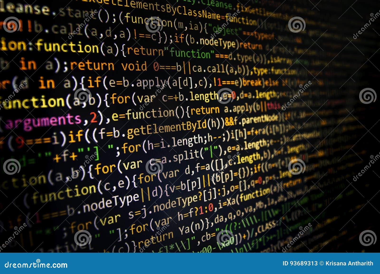 Pantalla programada del código del desarrollador de software Ordenador