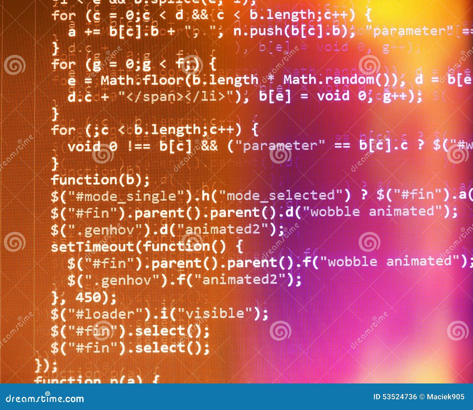 Pantalla programada del código fuente de la codificación
