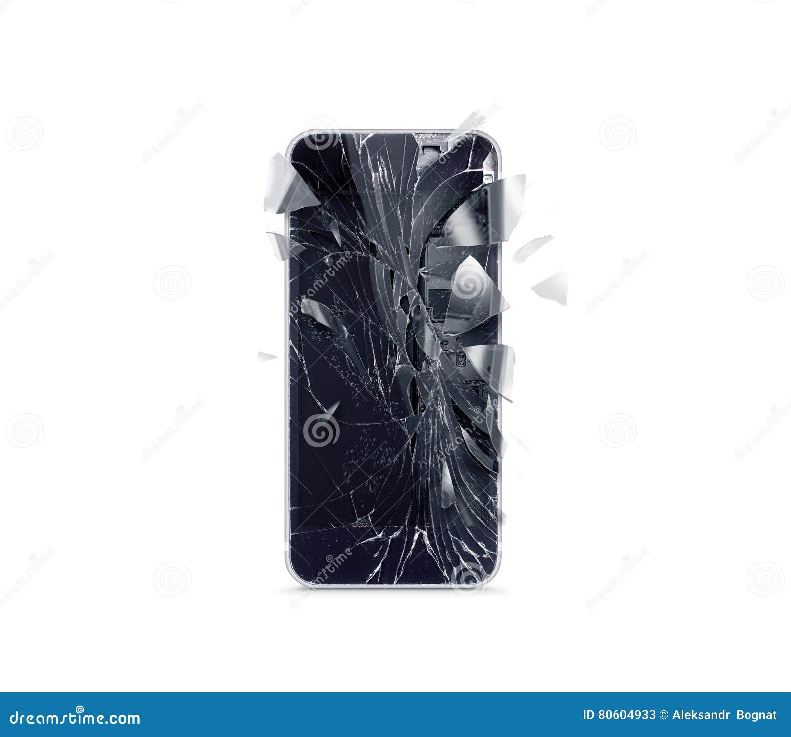Pantalla quebrada del teléfono móvil, cascos dispersados