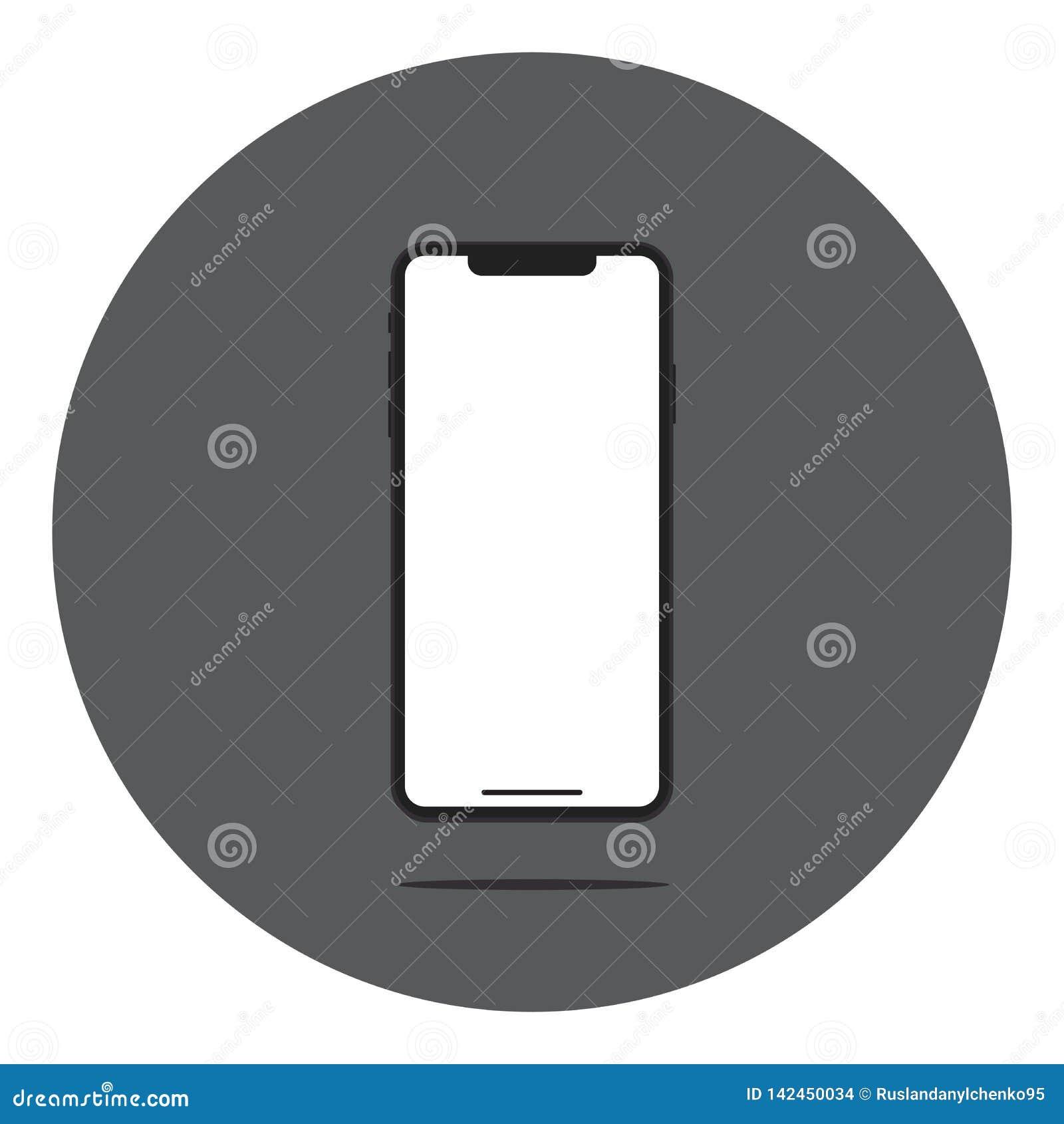 Pantalla vac?a Smartphone con la reflexi?n y la sombra Ilustraci?n del vector Dise?o plano de nuevas tecnolog?as