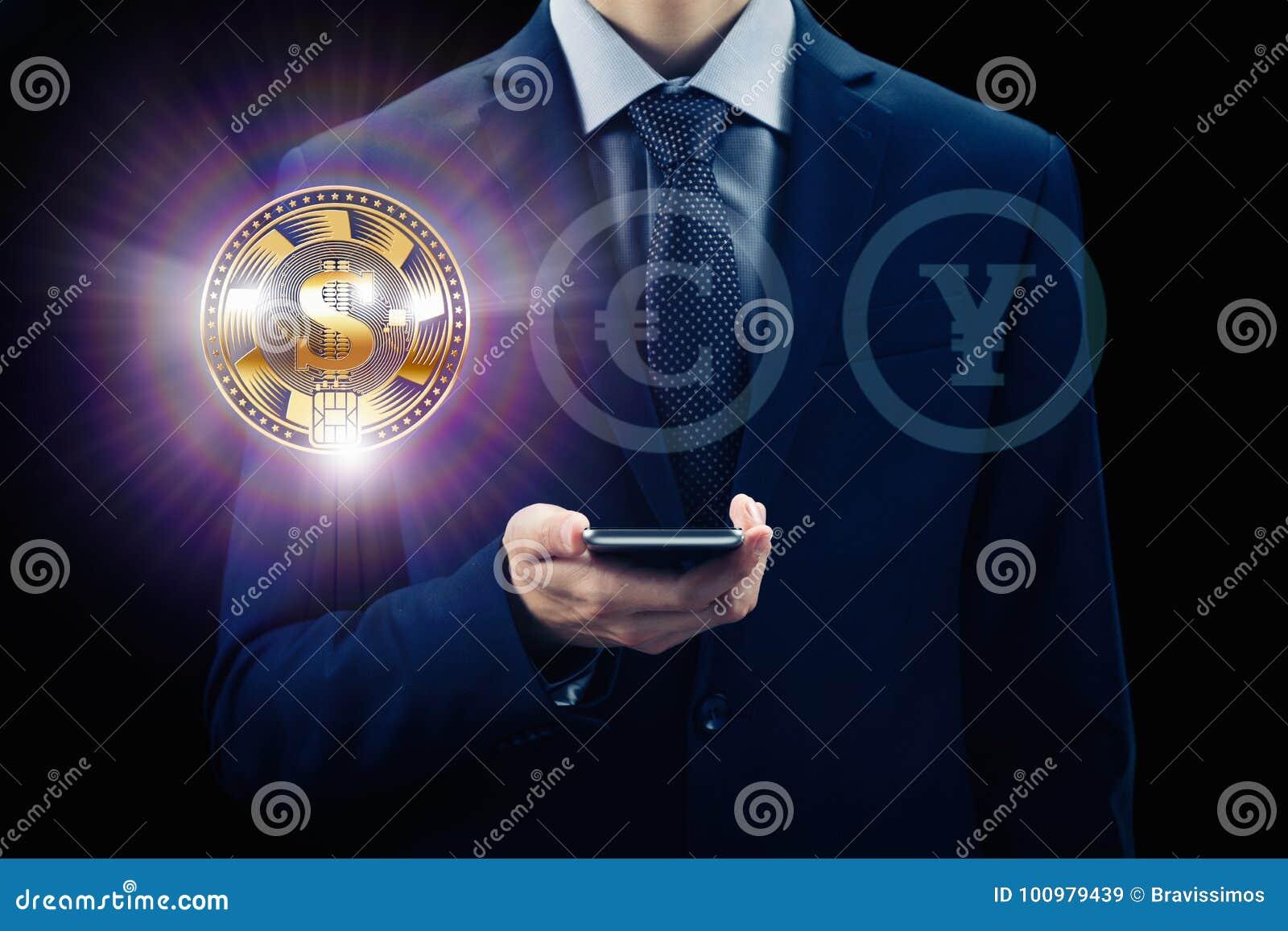 Pantalla virtual de Cryptocurrency Concepto del negocio, de las finanzas y de la tecnología Moneda del pedazo, cadena de bloque d