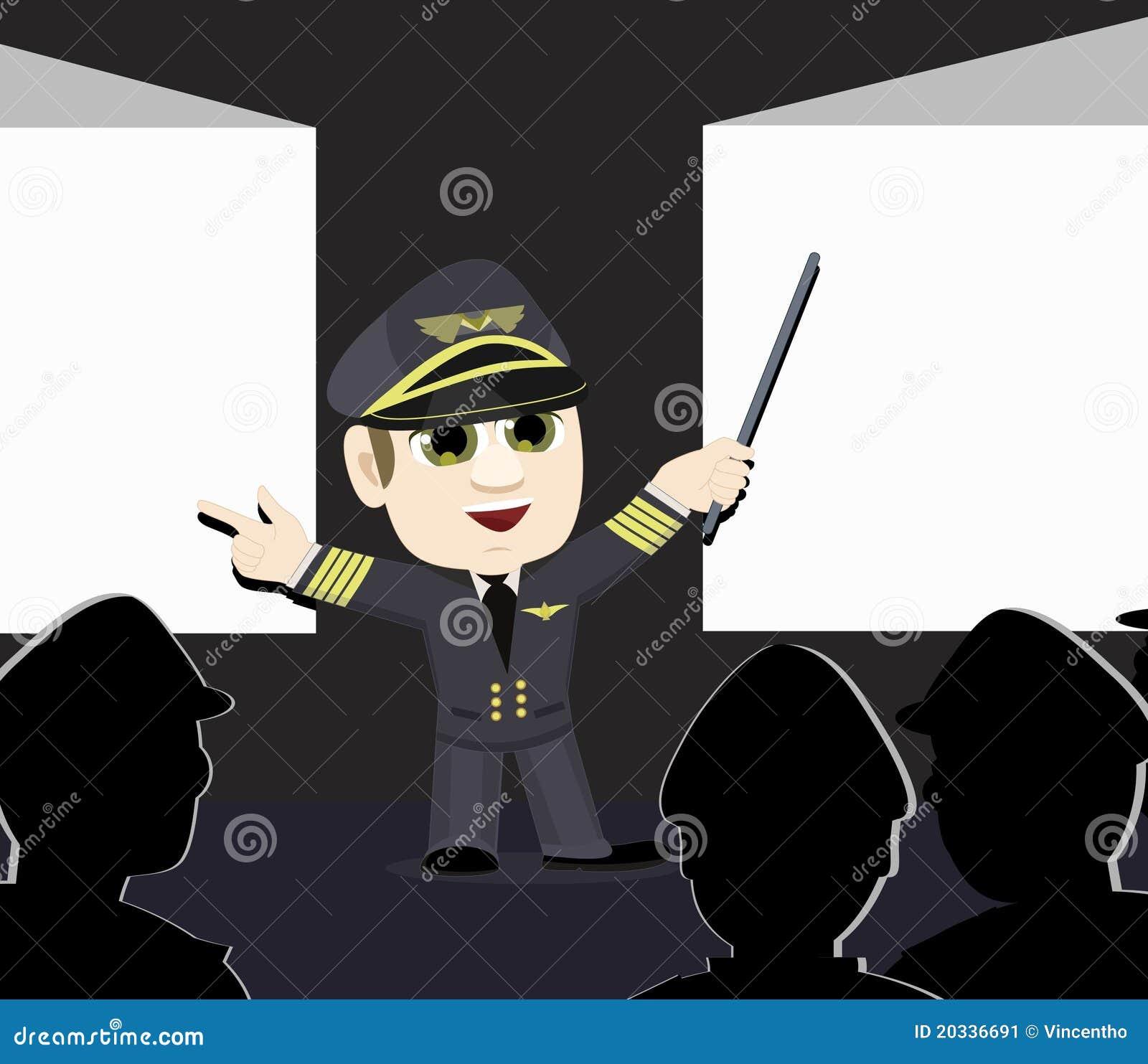 Pantallas de proyección experimentales de capitán Pointing de la línea aérea