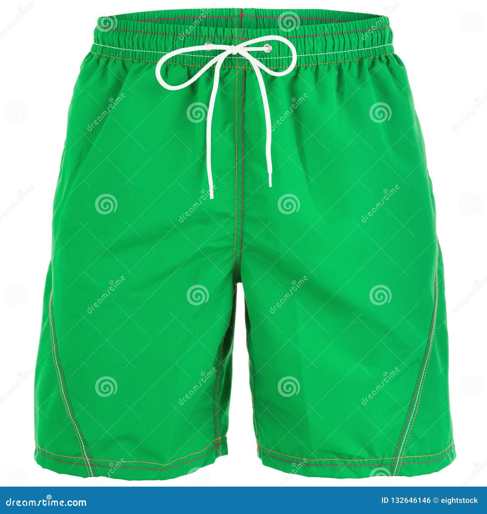 Pantalones cortos de los hombres verdes para nadar