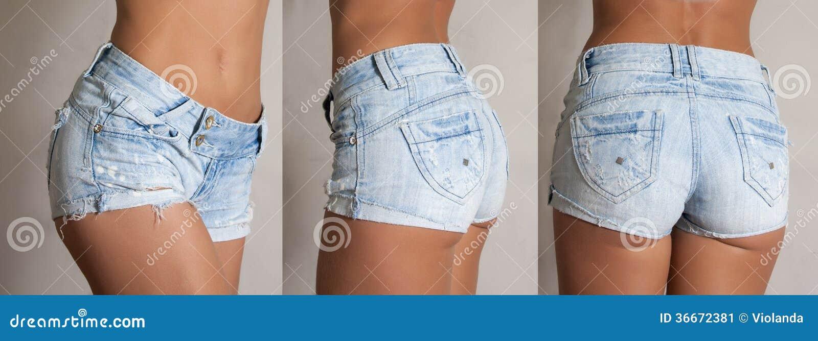 Chica quitándose los pantalones cortos