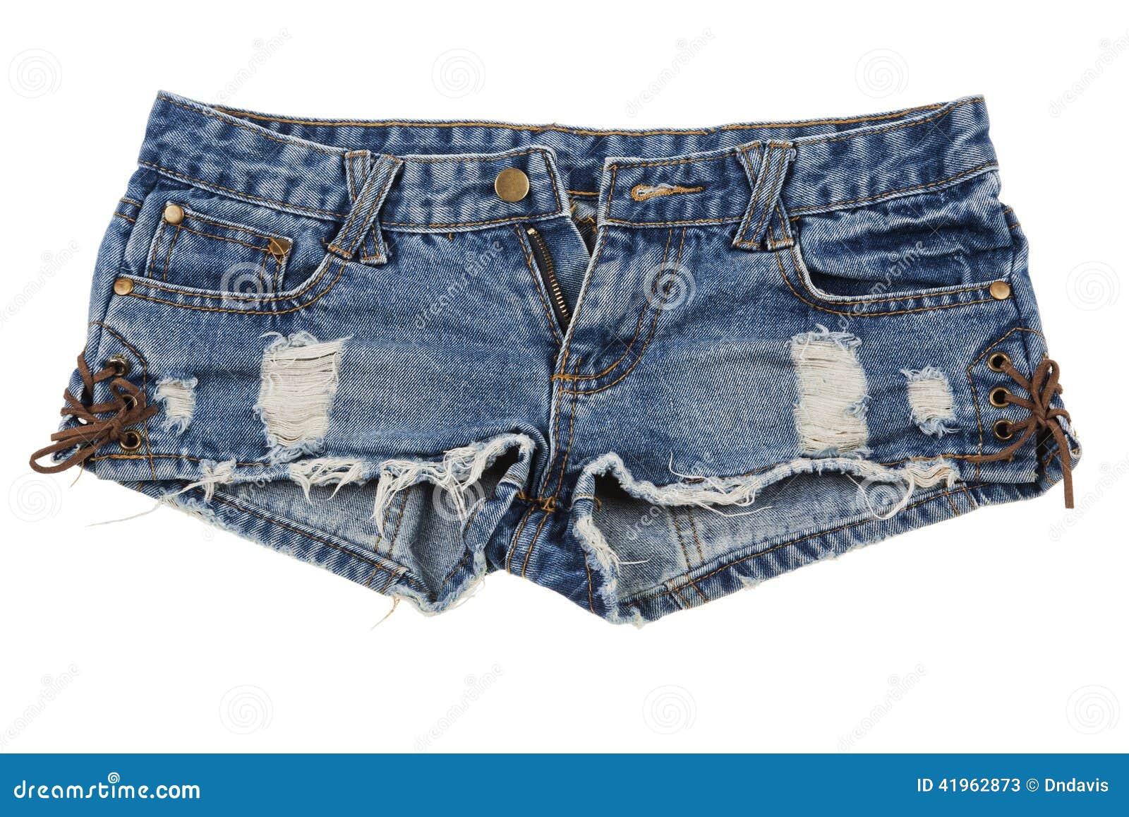 Pantalones cortos llevados viejos de la mezclilla