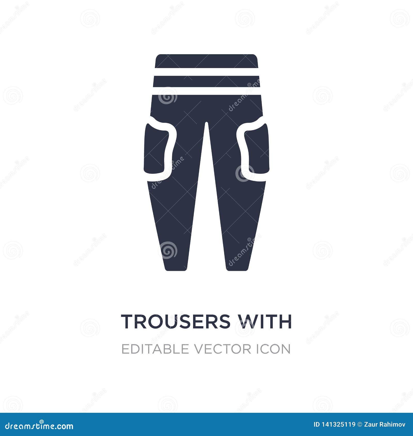 Pantaloni con l icona laterale delle tasche su fondo bianco Illustrazione semplice dell elemento dal concetto di modo