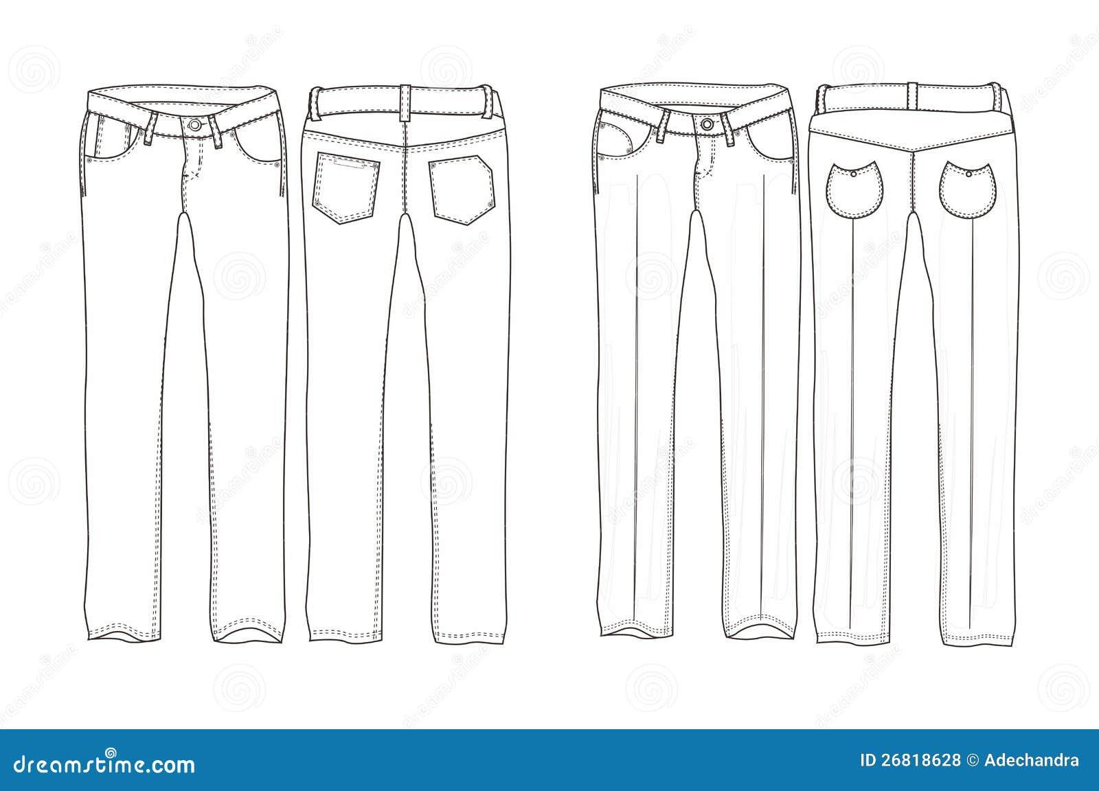 Pantaloni Lunghi Del Denim Illustrazione Vettoriale Illustrazione