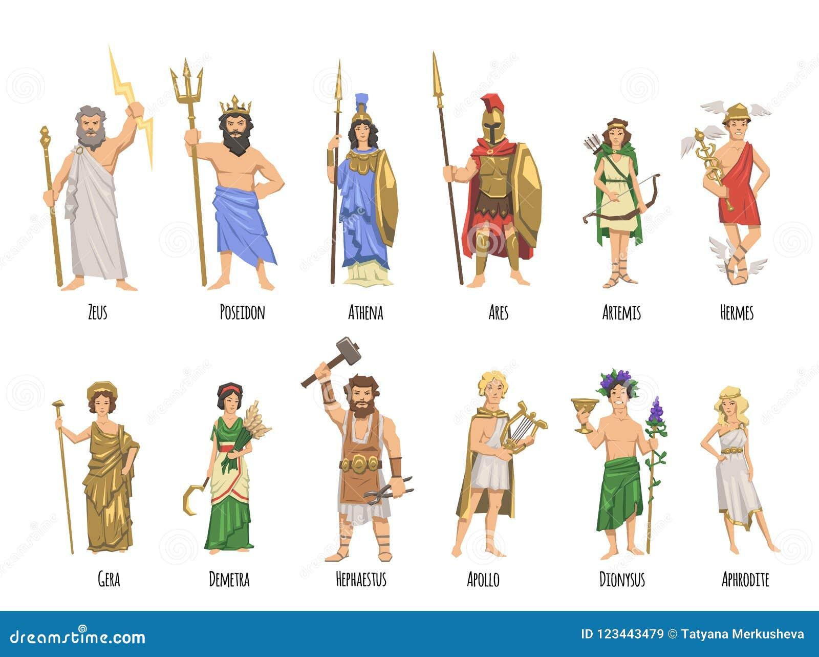 Panteon dei del greco antico, mitologia Insieme dei caratteri con i nomi Illustrazione piana di vettore Su bianco