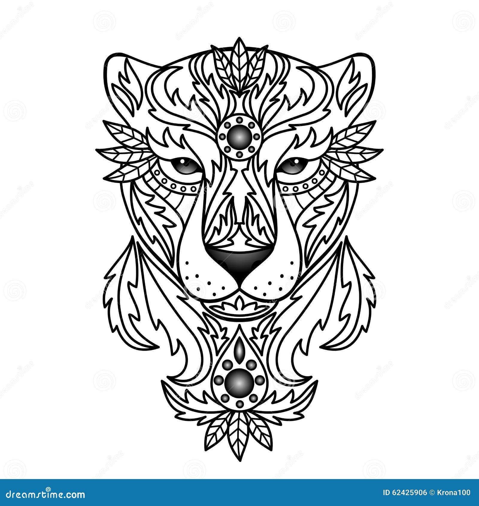 pantera bianca ornamentale illustrazione vettoriale immagine di nave 62425906. Black Bedroom Furniture Sets. Home Design Ideas