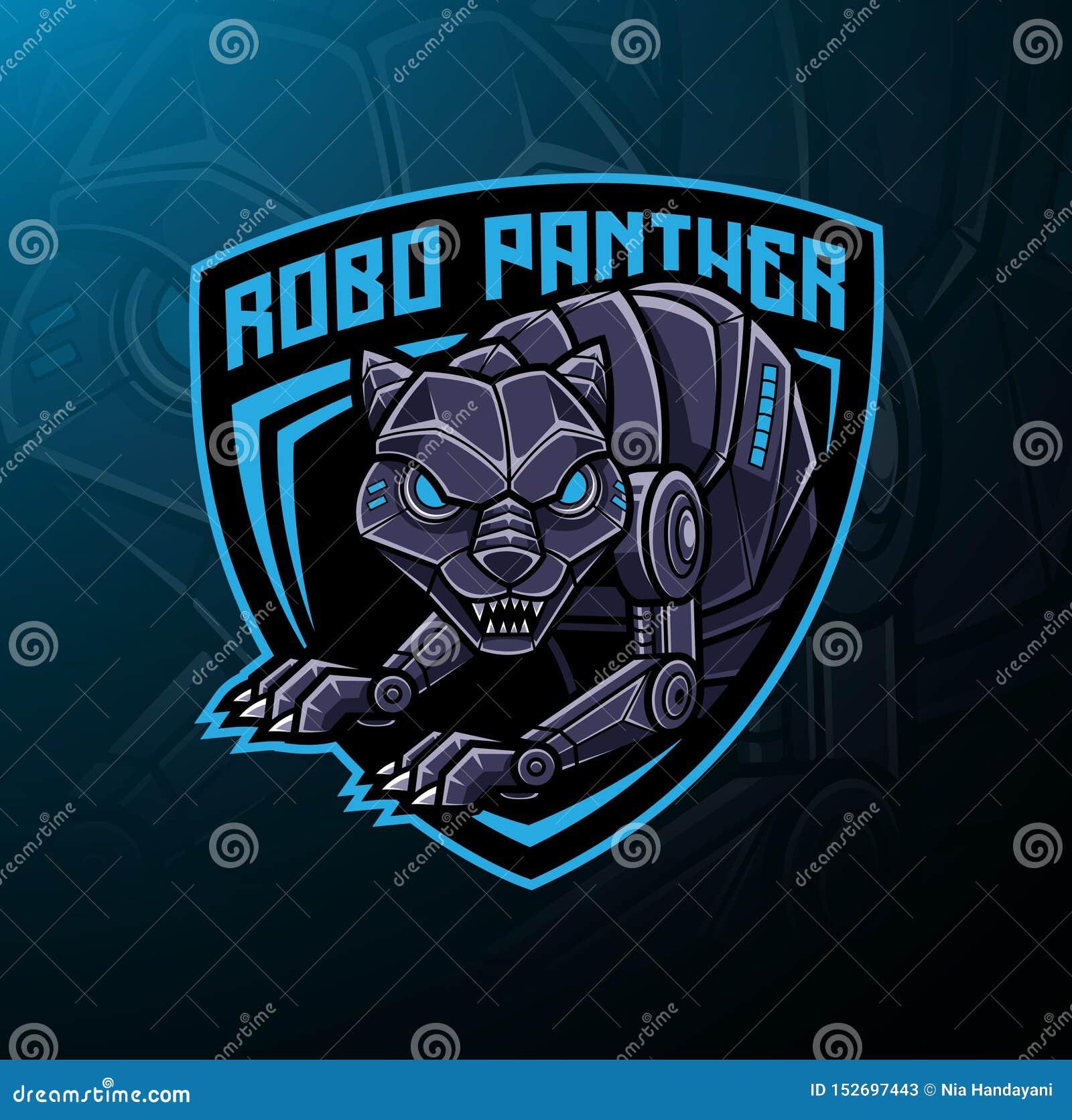 Pantera robota maskotki logo projekt