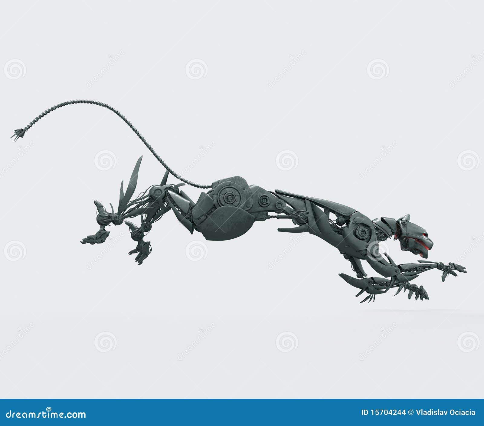 Panthère en acier affamée de cyborg