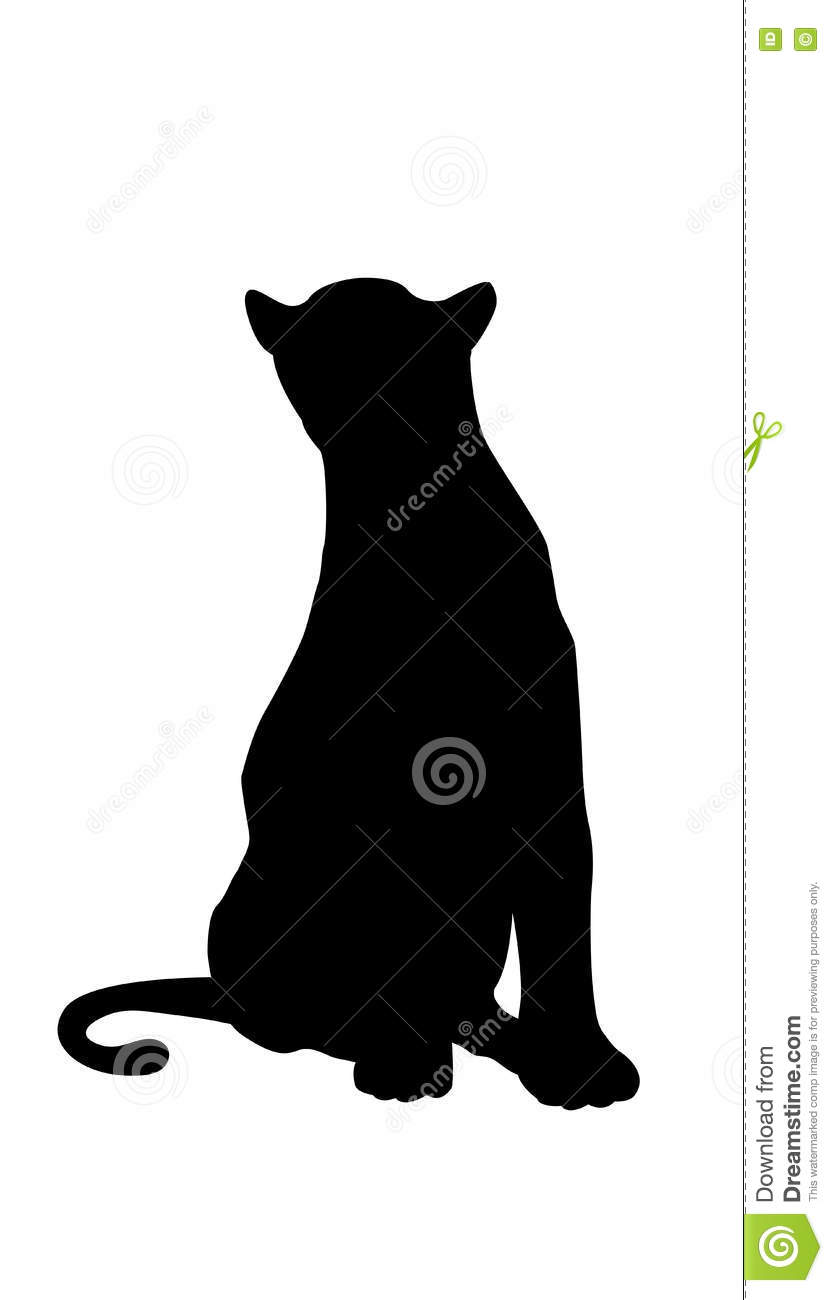 Panther Adult Black Silhouette Sitting Stock Vector