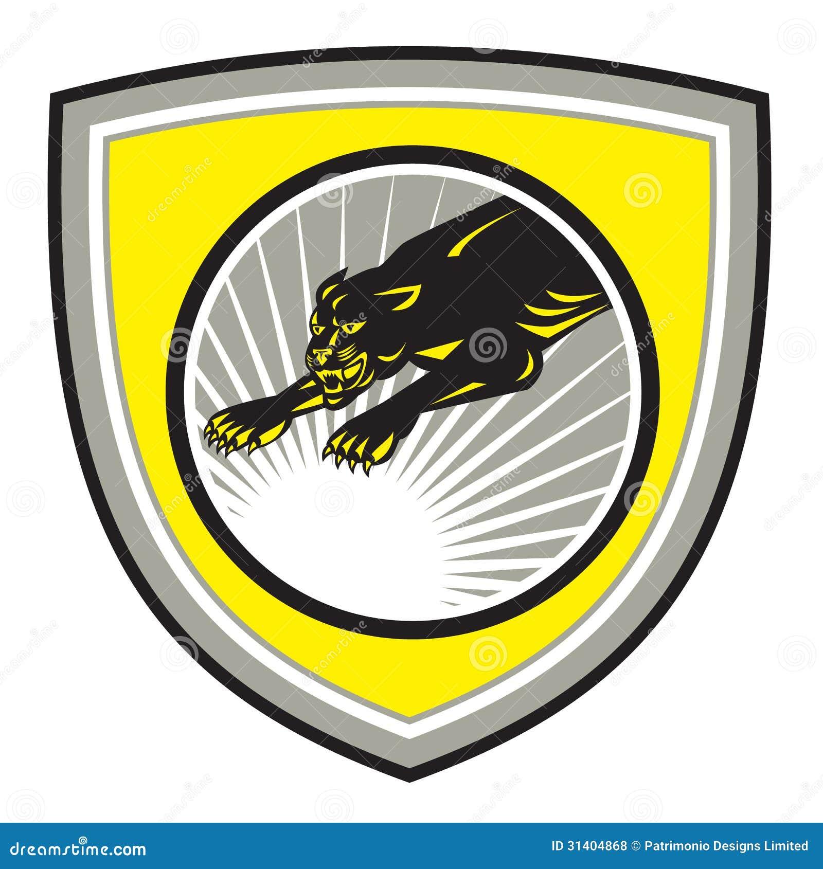 Big Cat Growl: Panther Big Cat Growling Crest Stock Vector