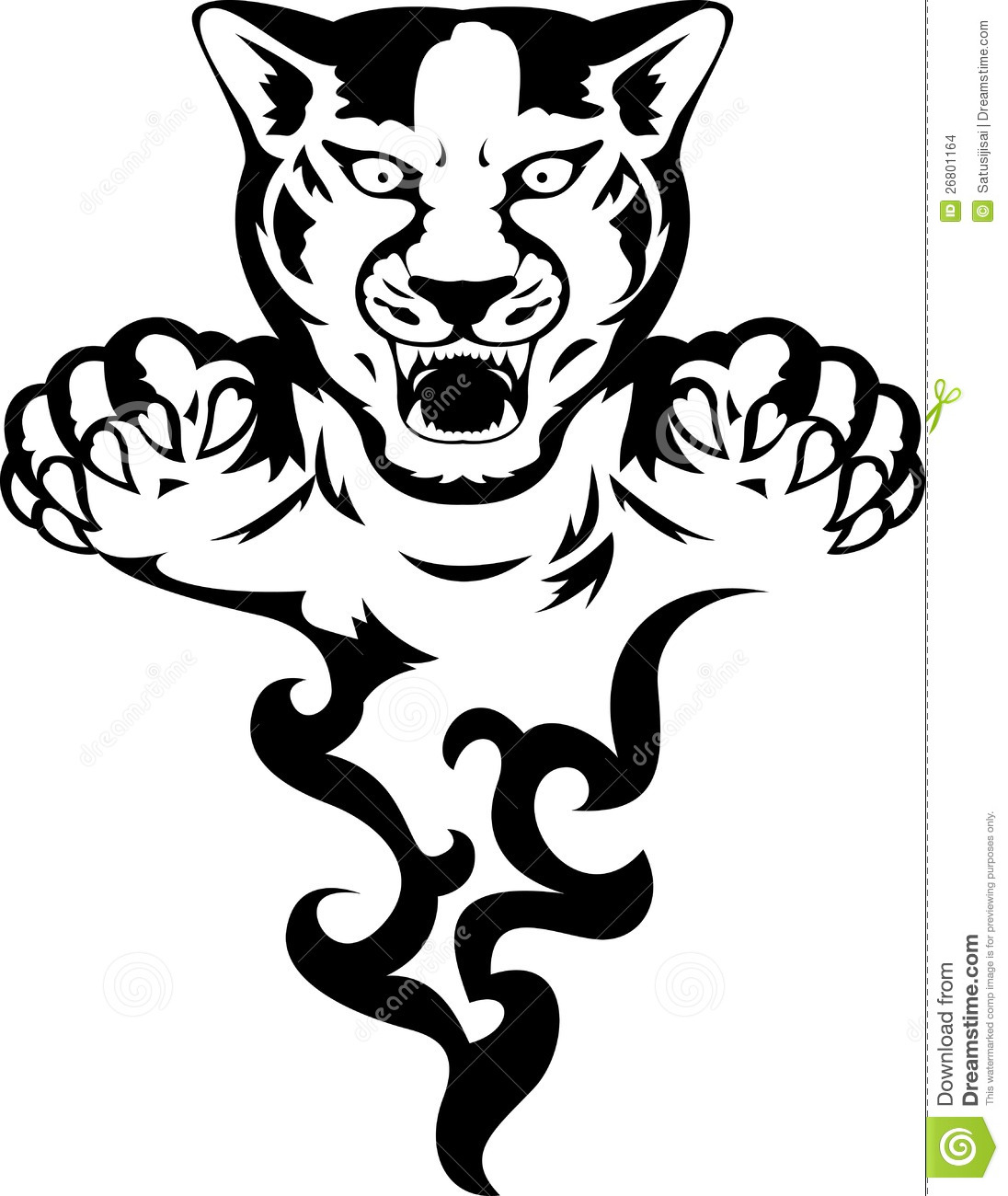 Panther with flame stock illustration. Image of angry ...