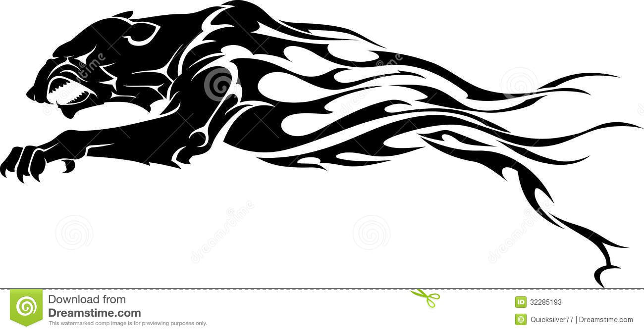 Panther Flame Tattoo stock illustration. Image of black ...