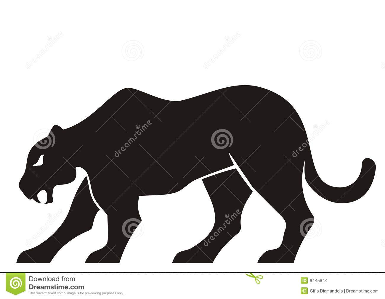 Black panther silhouette isolated on white background.