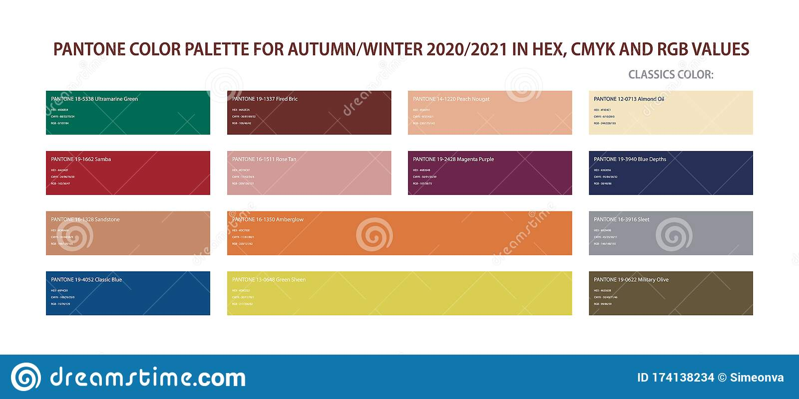 Pantone Color Palette For Autumn And Winter 2020 2021 In Hex Cmyk Rgb Values Stock Vector Illustration Of Cloth Chart 174138234,Combination Green And Blue Color Palette